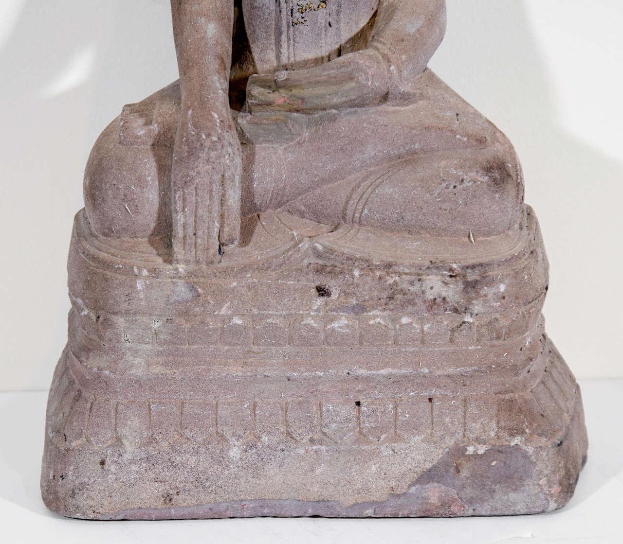 Burmese Sandstone Buddha Sculpture, circa 1800 For Sale
