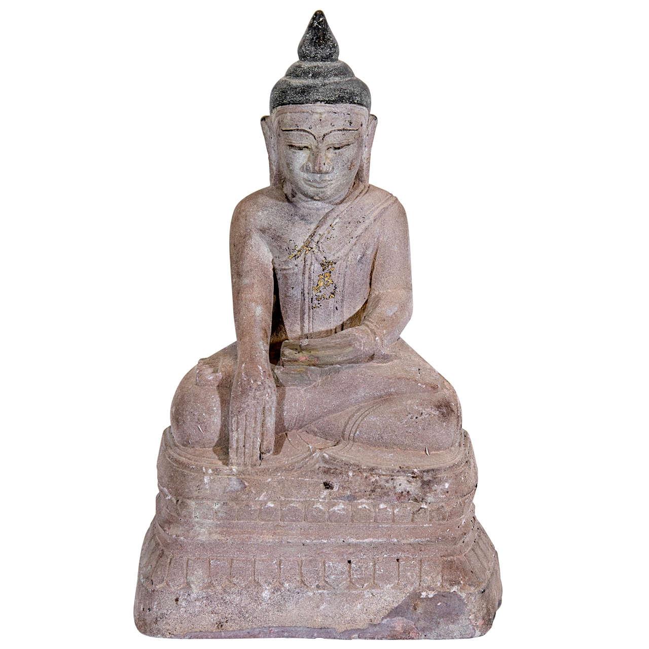 Sandstone Buddha Sculpture, circa 1800 For Sale