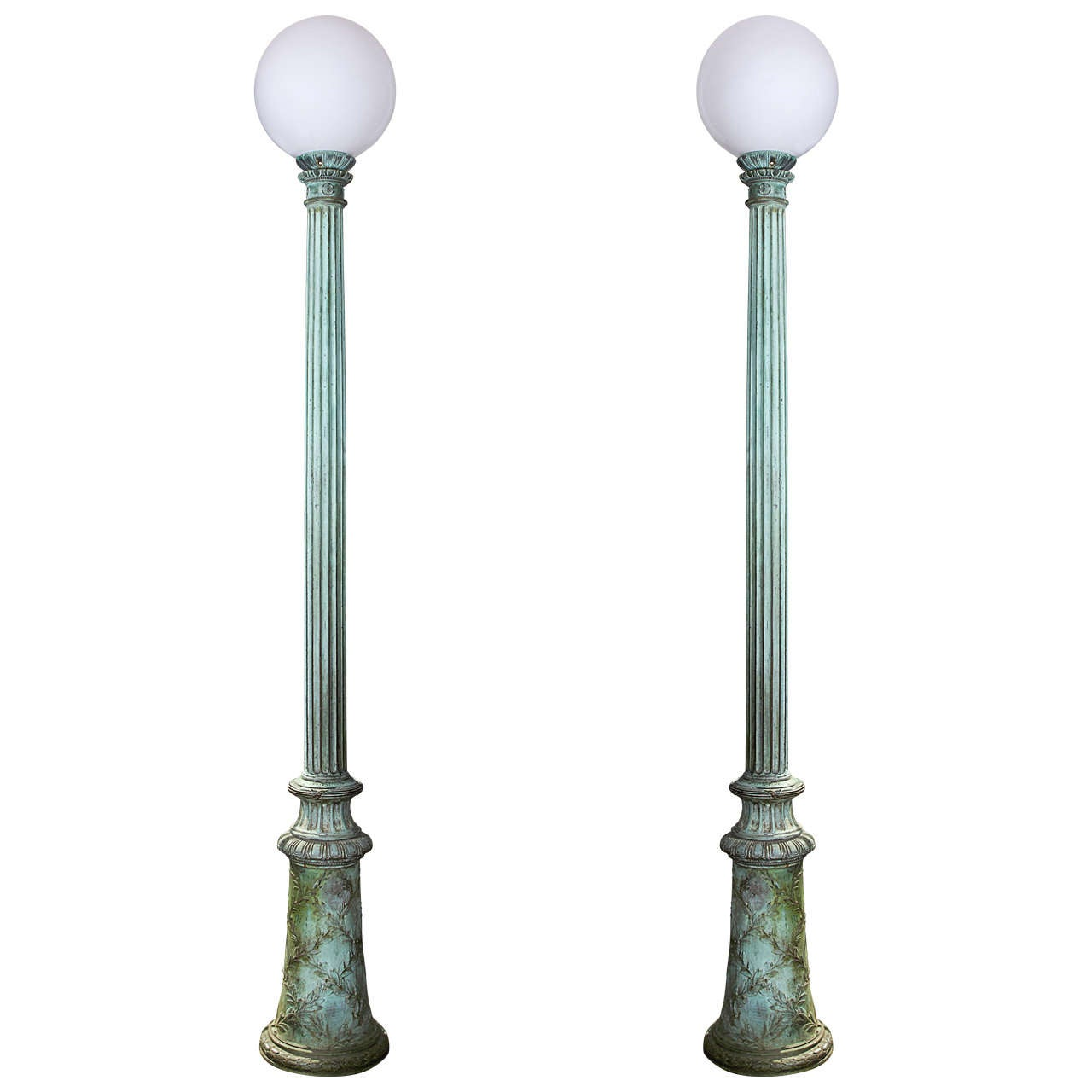 Pair of Tall Green Patinated Entry Lamps