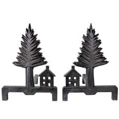 American Folk Art Pine Tree and Shaker Style House Andirons, circa 1920s