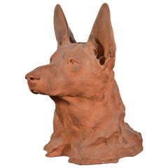 French Terracotta German Shepherd Portrait