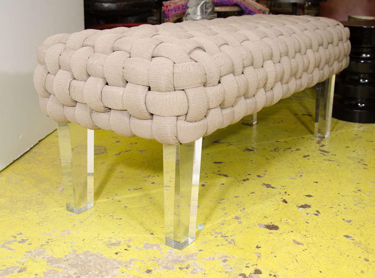 usa basket weave bench with lucite legs at 1stdibs. Black Bedroom Furniture Sets. Home Design Ideas