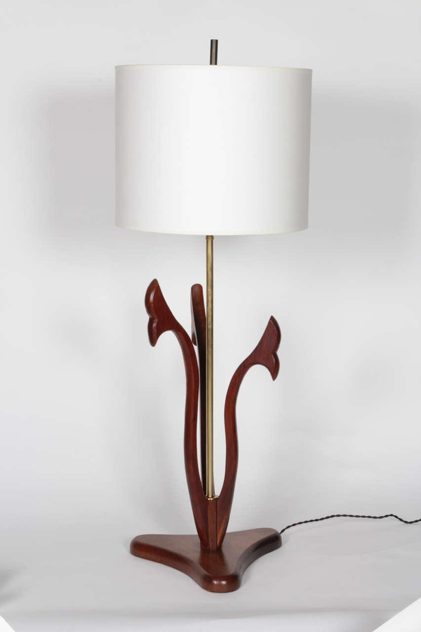 mid century sculptural wood table lamp for sale at 1stdibs. Black Bedroom Furniture Sets. Home Design Ideas