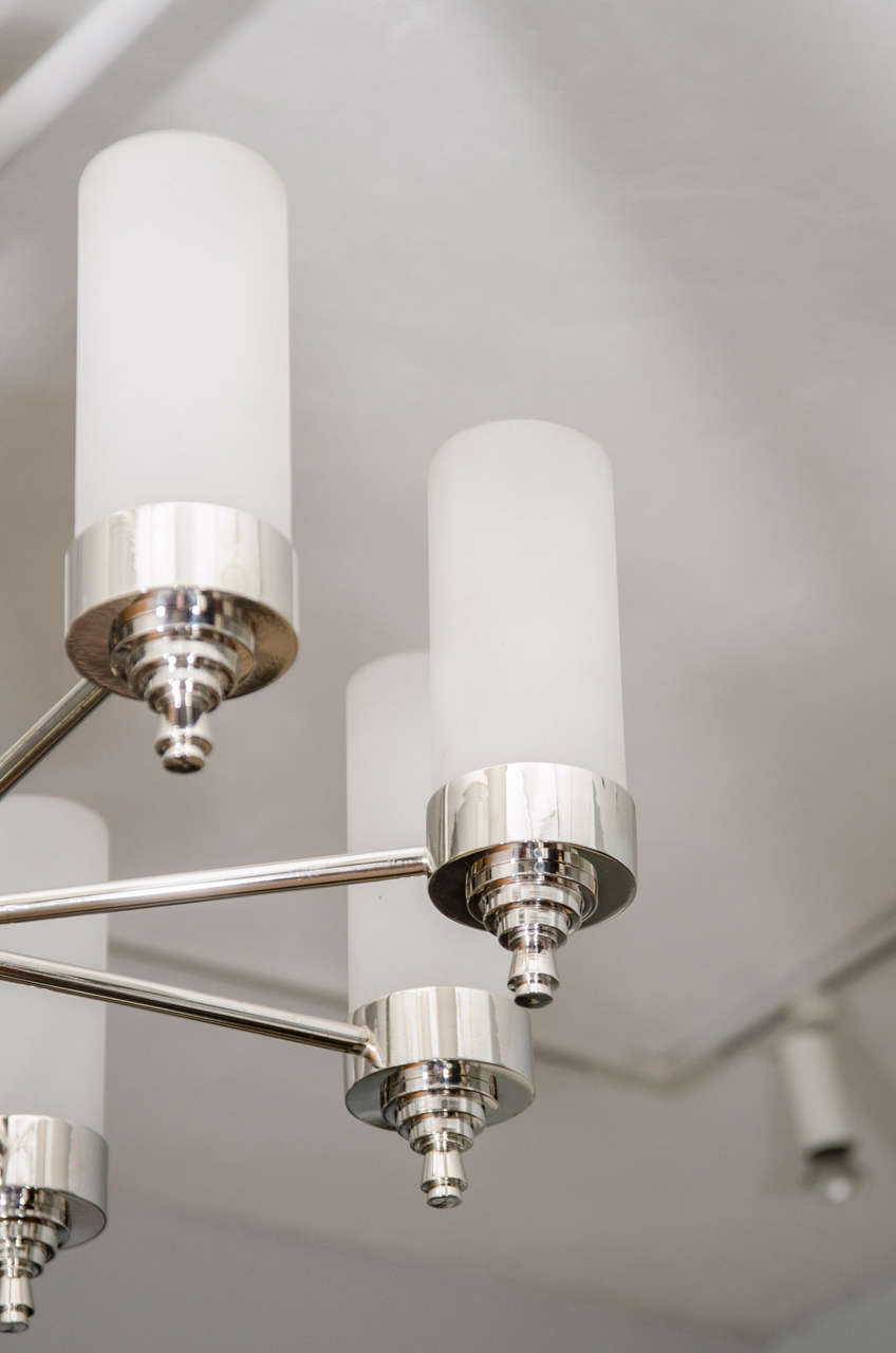 French Jacques Adnet Chandelier for Petitot For Sale