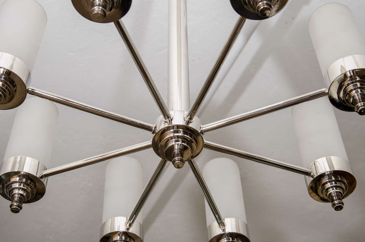 20th Century Jacques Adnet Chandelier for Petitot For Sale