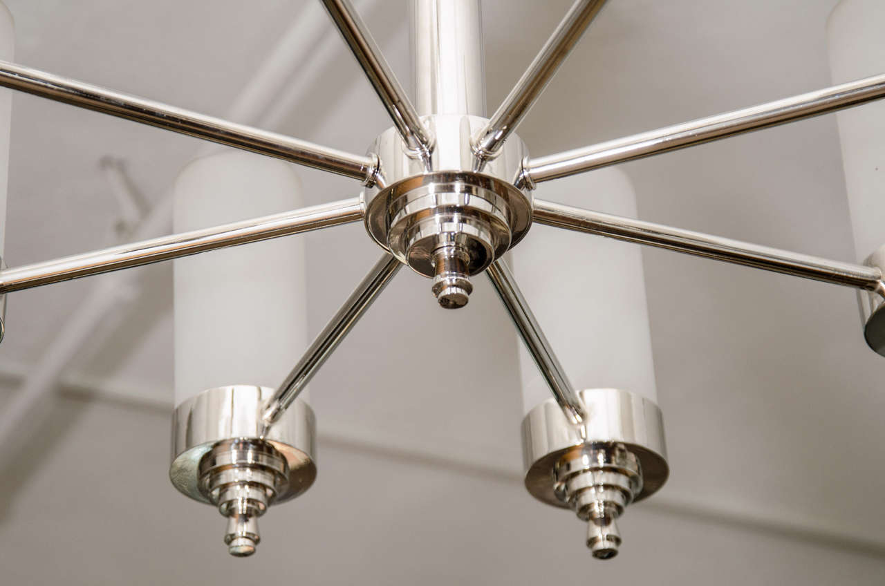 Nickel Jacques Adnet Chandelier for Petitot For Sale