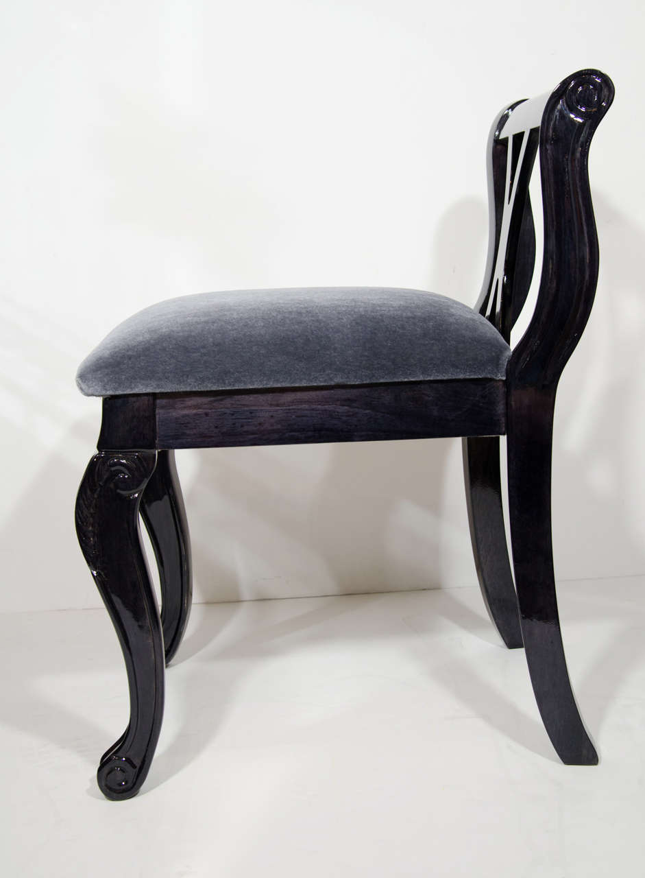 Mid-20th Century Neoclassical Revival Vanity Stool in Ebonized Walnut and Mohair For Sale