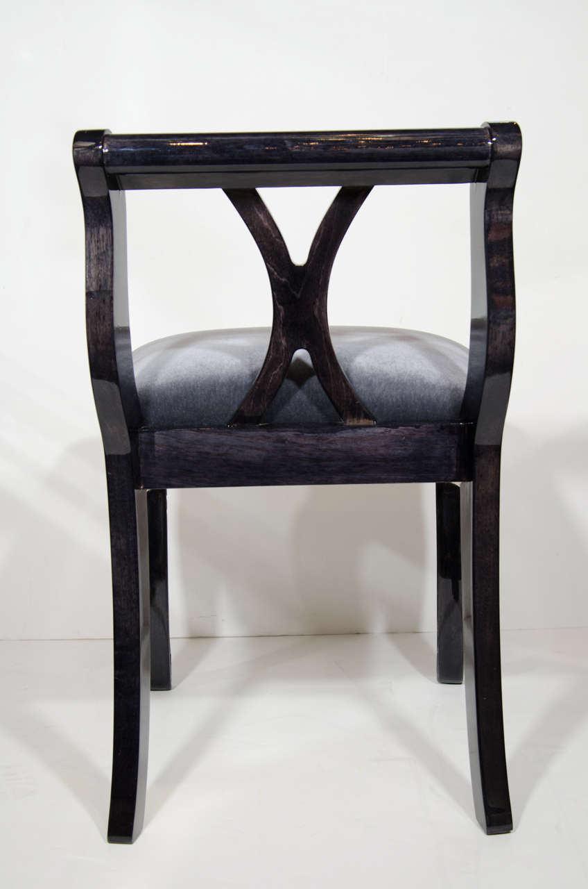 Neoclassical Revival Vanity Stool in Ebonized Walnut and Mohair For Sale 1