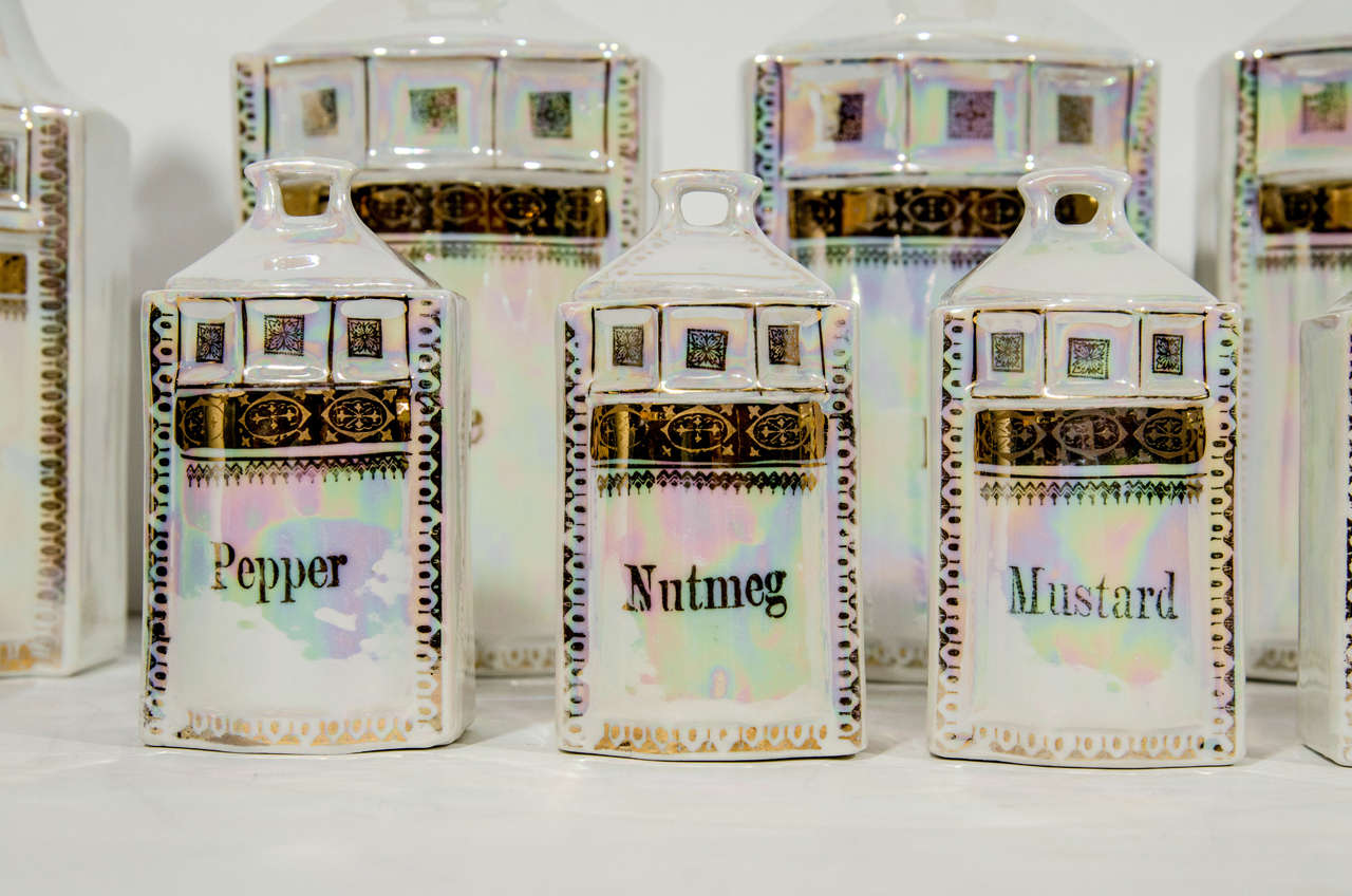 Late Victorian Antique German Porcelain Apothecary Jars and Spice Set, 12 Piece For Sale