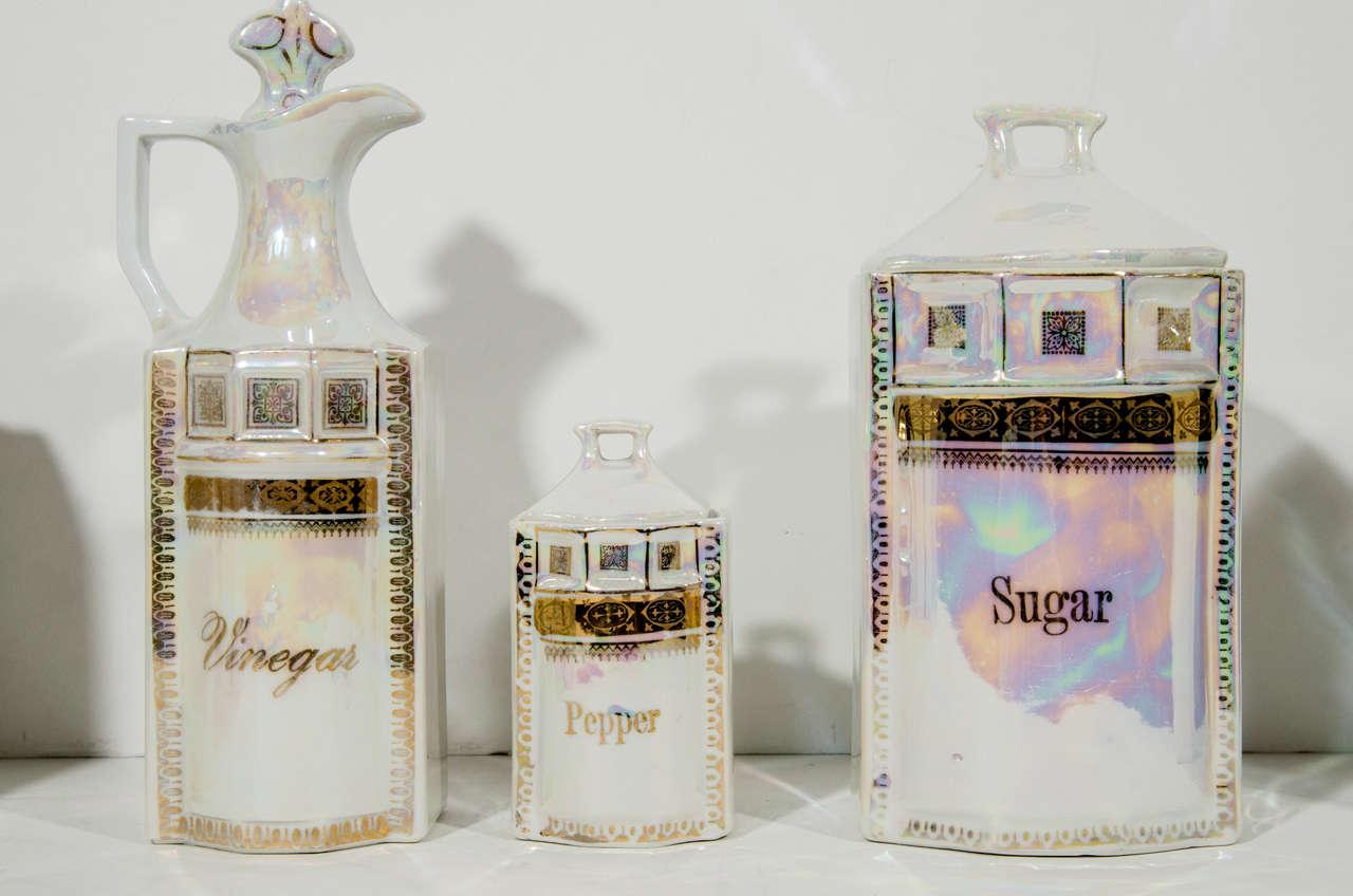 Antique German Porcelain Apothecary Jars and Spice Set, 12 Piece For Sale 1