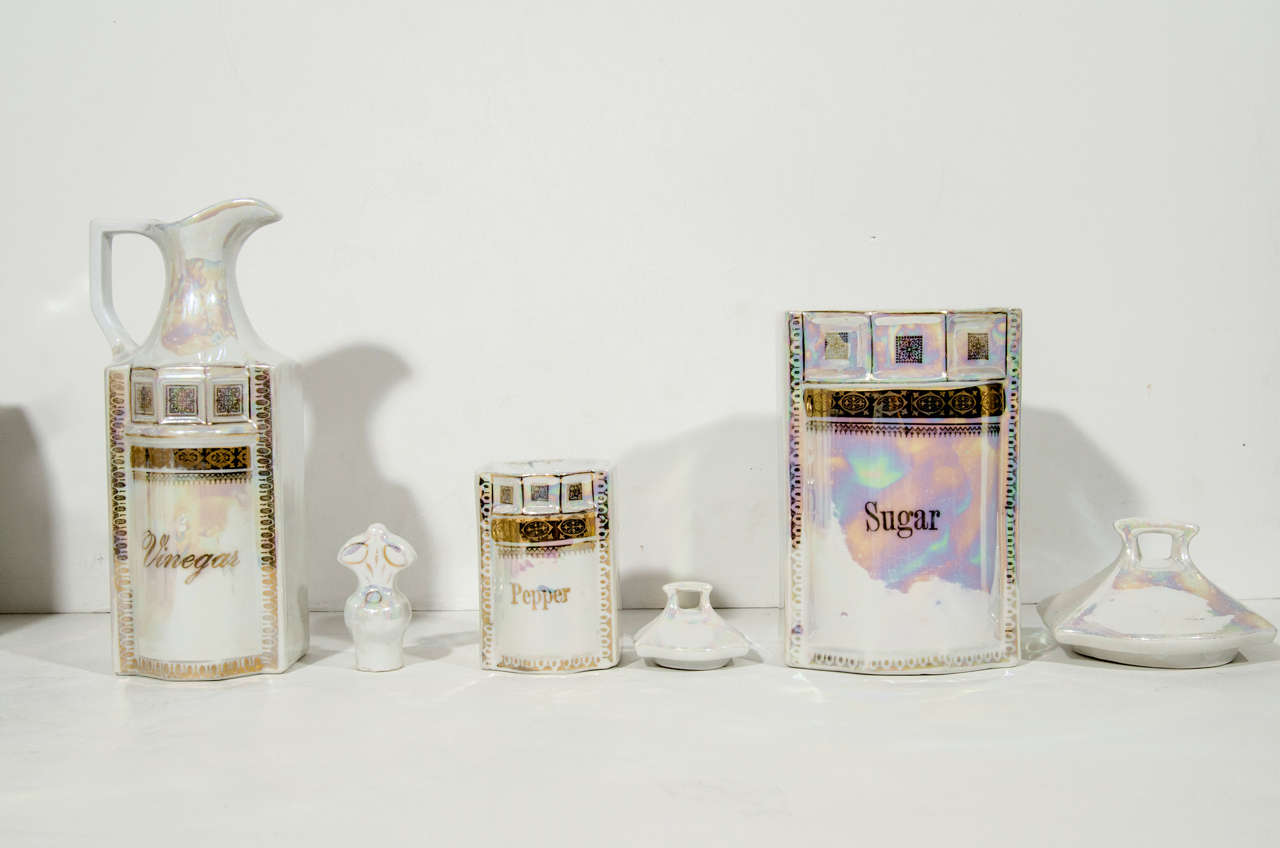 Antique German Porcelain Apothecary Jars and Spice Set, 12 Piece For Sale 2