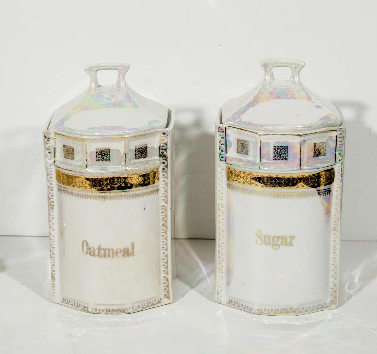 Antique German Porcelain Apothecary Jars and Spice Set, 12 Piece For Sale 4