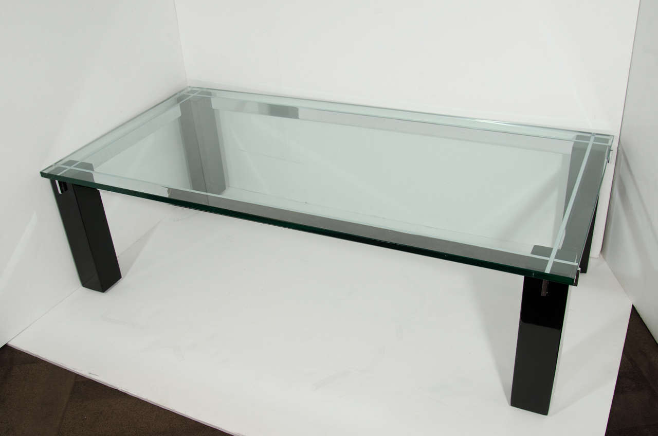 Ebonized Italian Mid-Century Modern Architectural Coffee Table For Sale