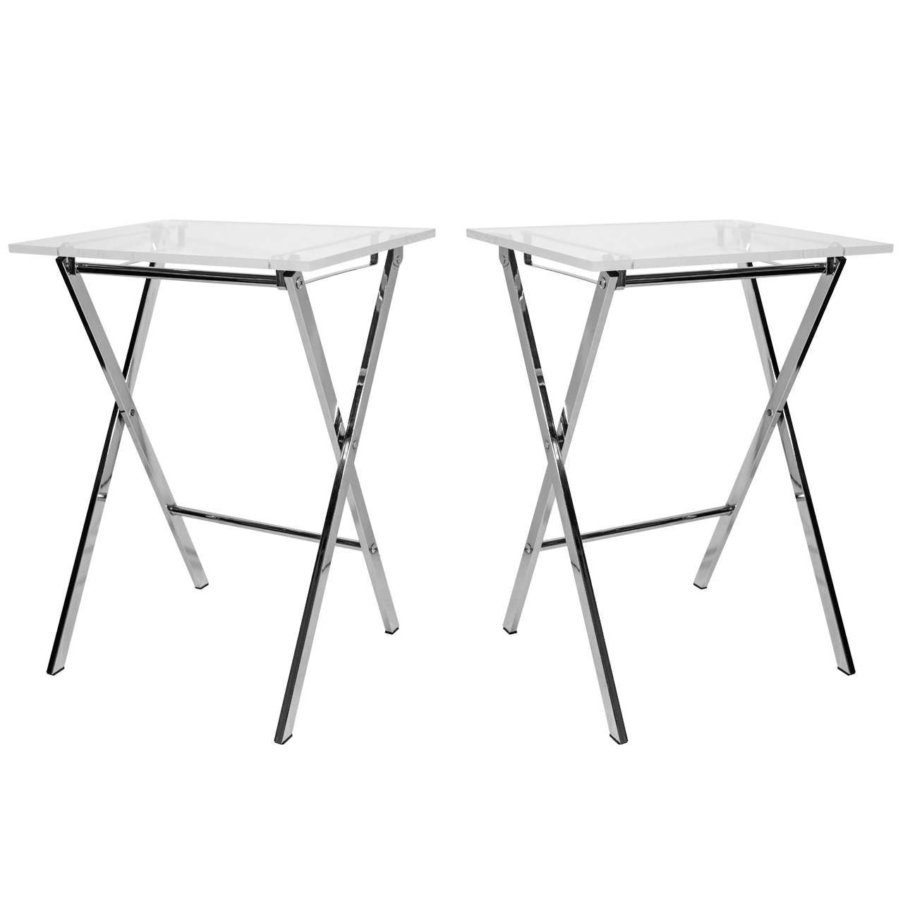 Pair Of Vintage Modern Lucite U0026 Chrome Folding Tray Tables For Sale