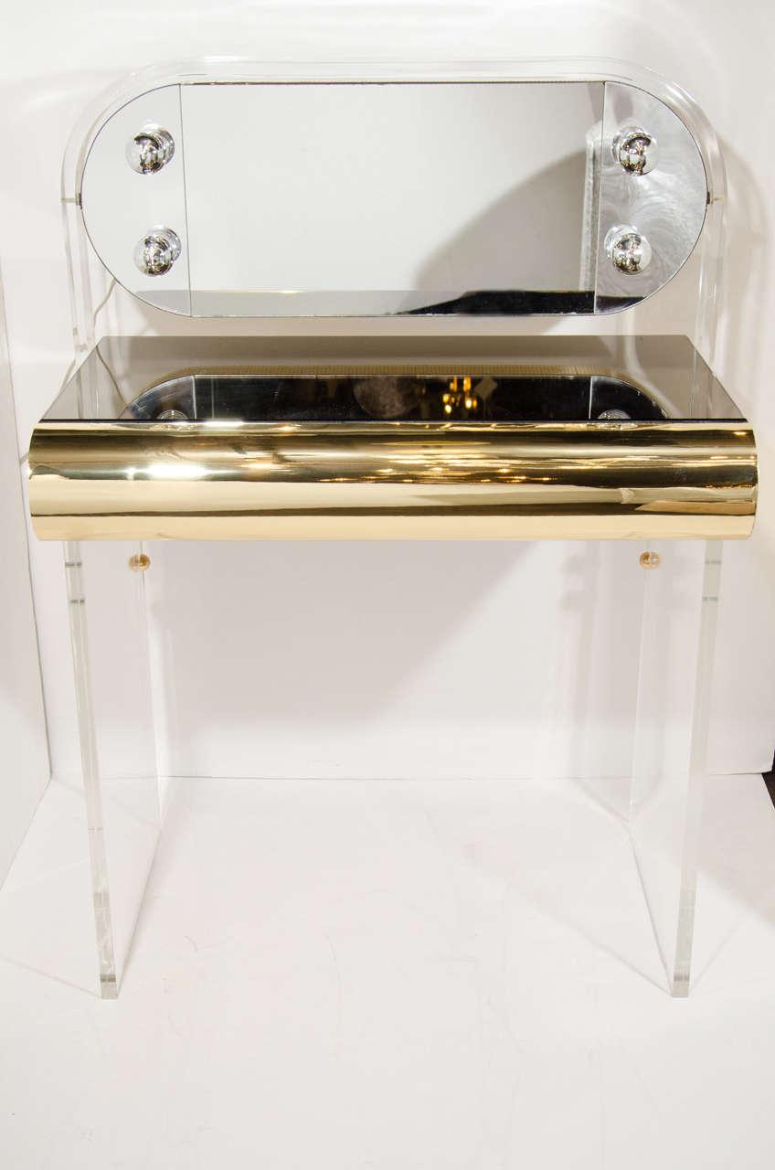 Vintage Illuminated Vanity Table In Lucite, Brass, U0026 Bronze Mirror 2