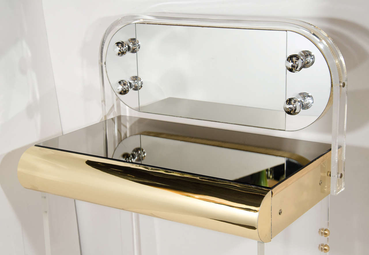 Amazing Vintage Illuminated Vanity Table In Lucite Brass And Ibusinesslaw Wood Chair Design Ideas Ibusinesslaworg