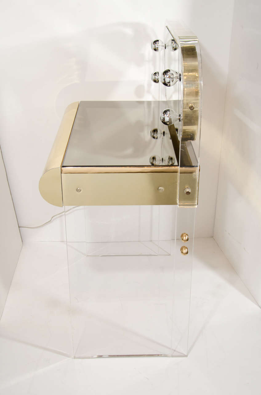 Vintage Illuminated Vanity Table In Lucite Brass And
