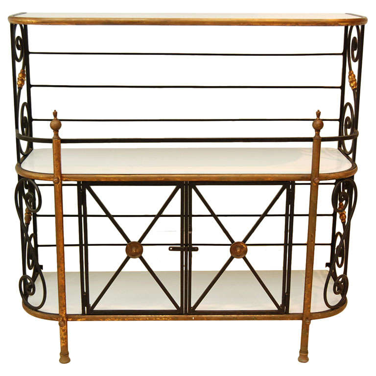 French Iron Bakers Rack With Milk Glass Shelves At 1stdibs