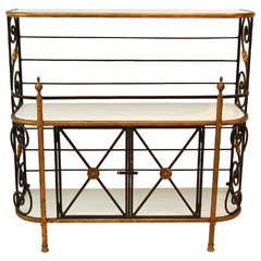 French Iron Bakers Rack with Milk Glass Shelves