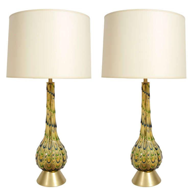 Pair Of Italian Mid Century Multicolor Murano Glass Table Lamps 1