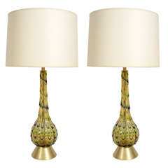 Pair of Italian Mid-Century Multicolor Murano Glass Table Lamps