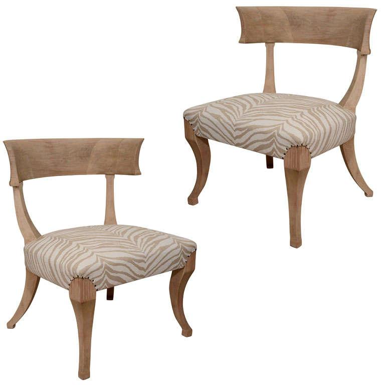 Brilliant Pair Of Sun Bleached Klismos Chairs Theyellowbook Wood Chair Design Ideas Theyellowbookinfo