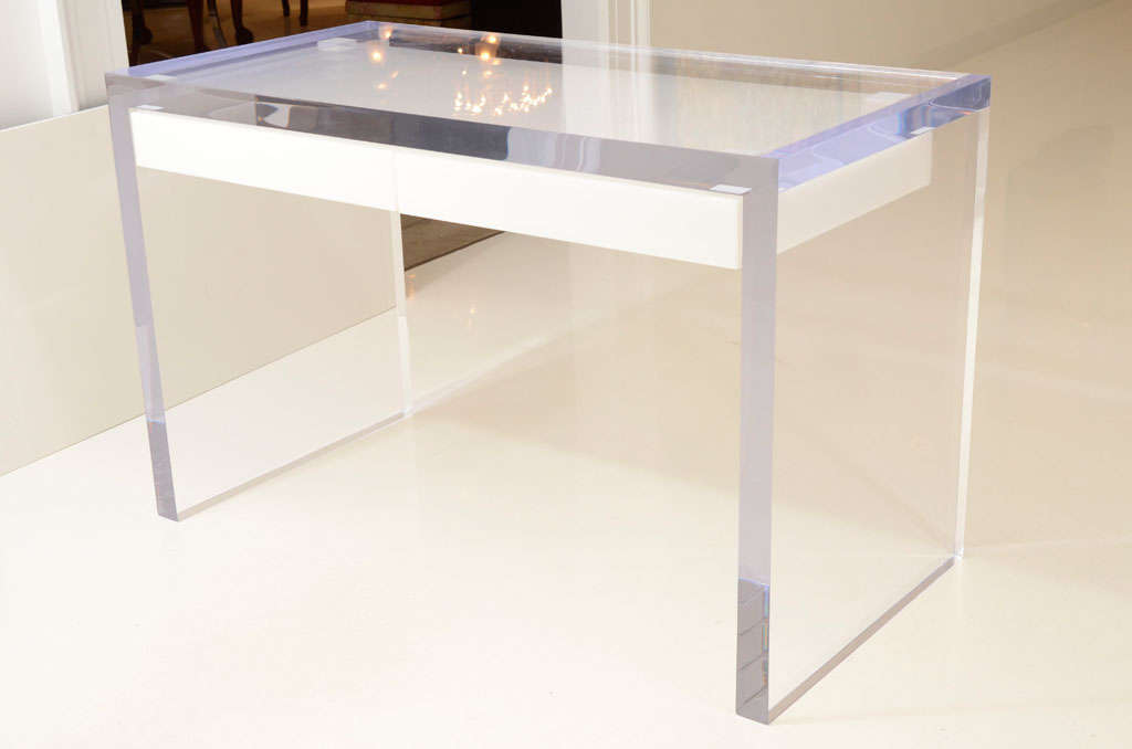 This Solid Heavy And Gleaming Lucite Desk Is Absolutely Stunning Made Of Thick