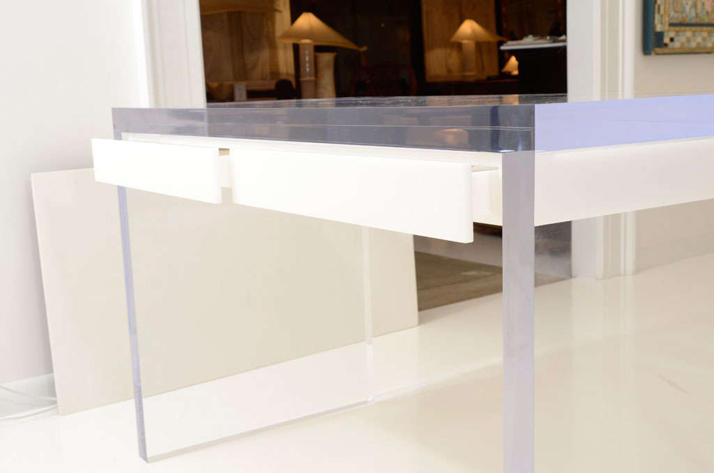 Magnificent Large Lucite Desk with Drawers image 4