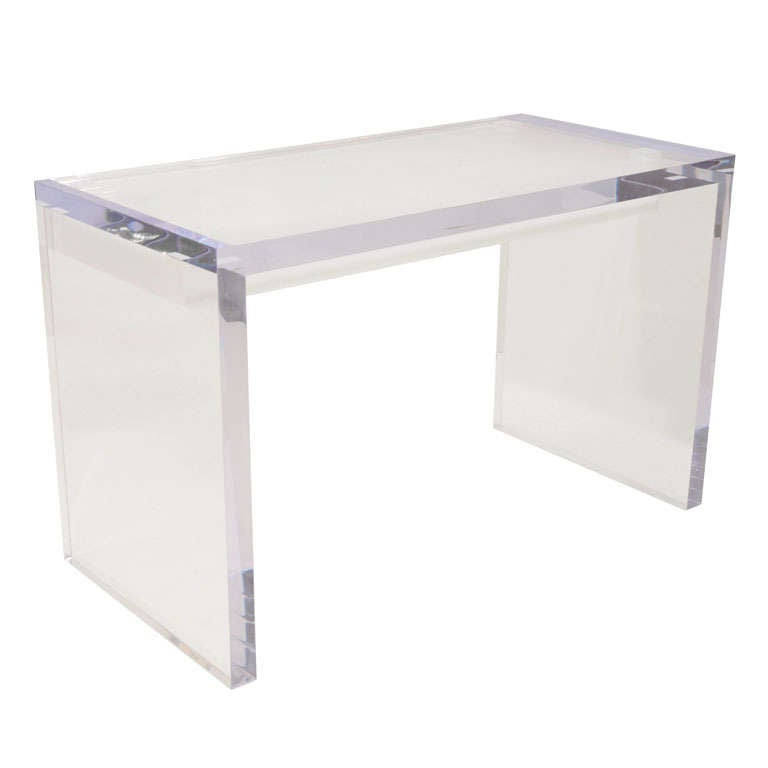 Large lucite writing desk with drawers at stdibs
