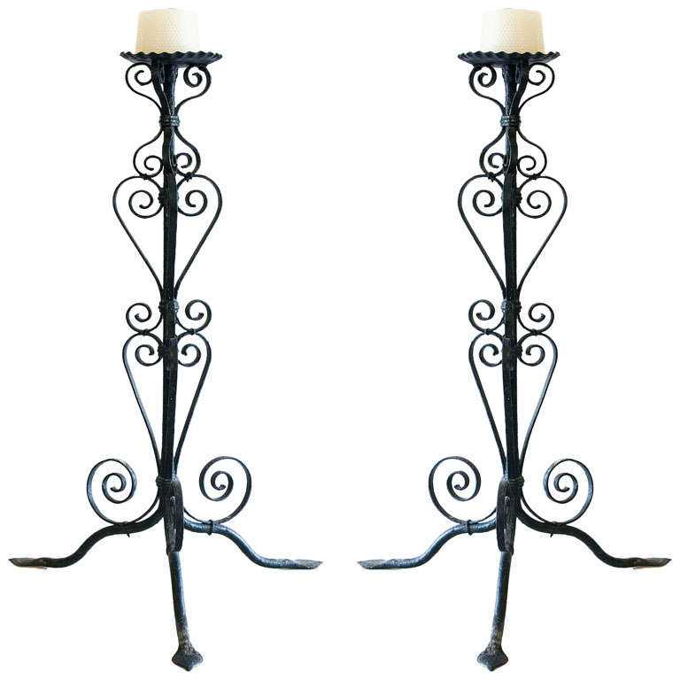 Pair of Iron Candlesticks For Sale