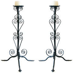 Pair of Iron Candlesticks