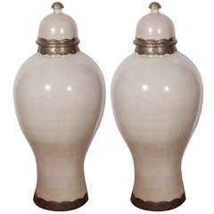 Pair of Moroccan Olive Jars with Lid from Fez, Ivory Color