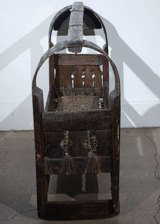 Leather African Tribal Folk Art Basket For Sale