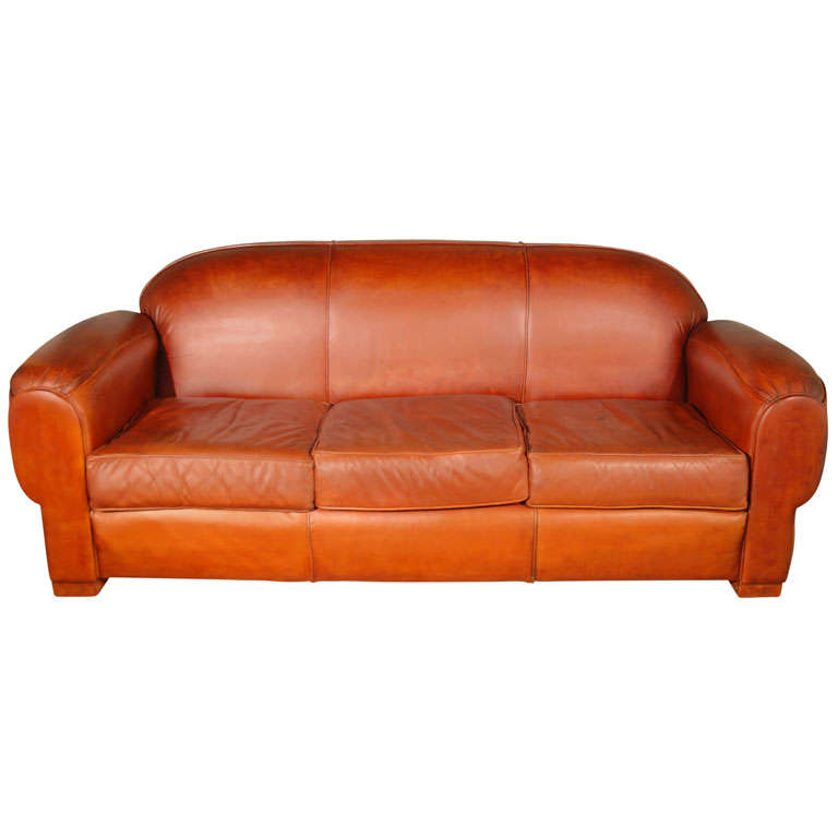 Overstuffed And Comfortable Leather Sofa