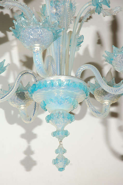 Italian Vintage Light Blue and Clear Murano Glass Chandelier