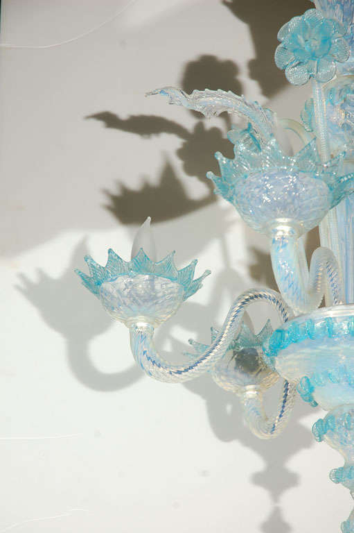 20th Century Vintage Light Blue and Clear Murano Glass Chandelier