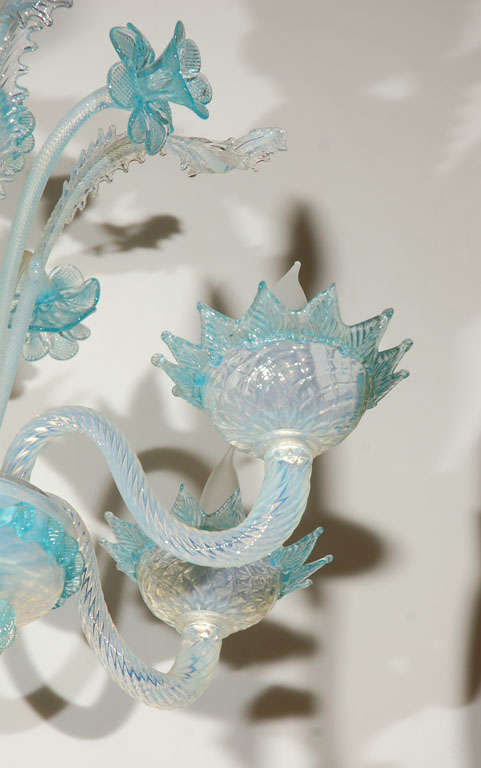Vintage Light Blue and Clear Murano Glass Chandelier 2