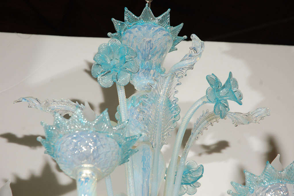 Vintage Light Blue and Clear Murano Glass Chandelier 3