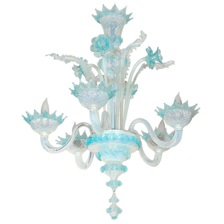 Vintage Light Blue and Clear Murano Glass Chandelier