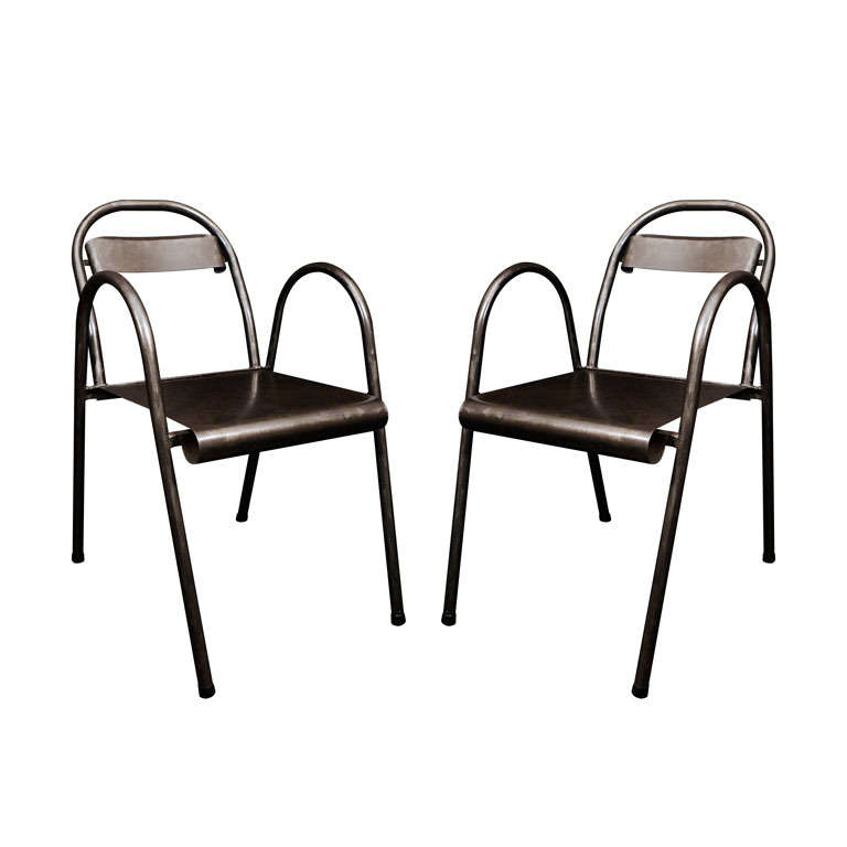 Industrial arm chairs at stdibs