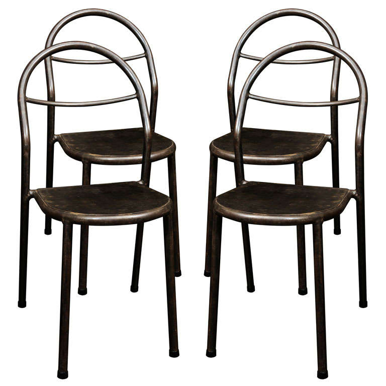 Set Of Four Industrial Metal Chairs At 1stdibs