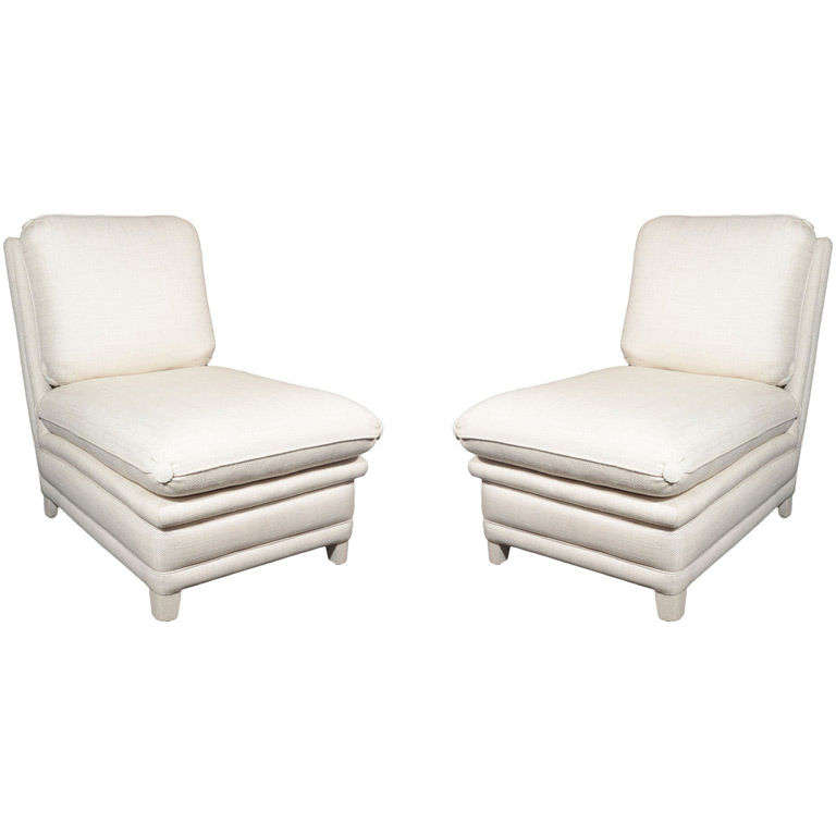 Pair of Upholstered Slipper Chairs by Billy Baldwin at 1stdibs