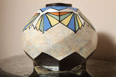 Belgian Art Deco Ceramic Vase by A. Dubois image 6