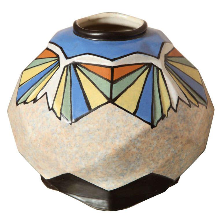 Belgian Art Deco Ceramic Vase by A. Dubois
