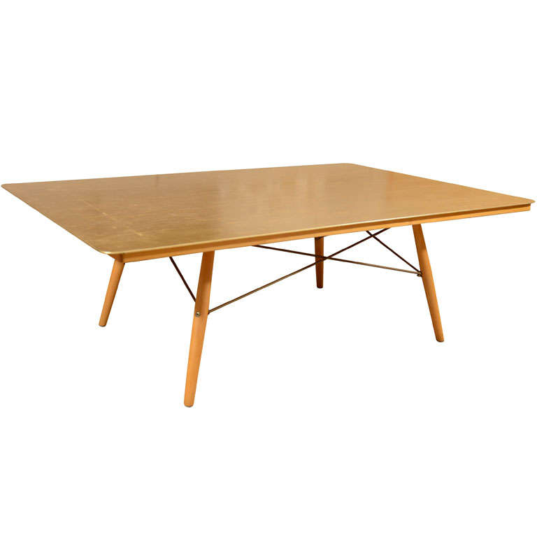 eames anniversary table with gold leaf top and maple frame at 1stdibs