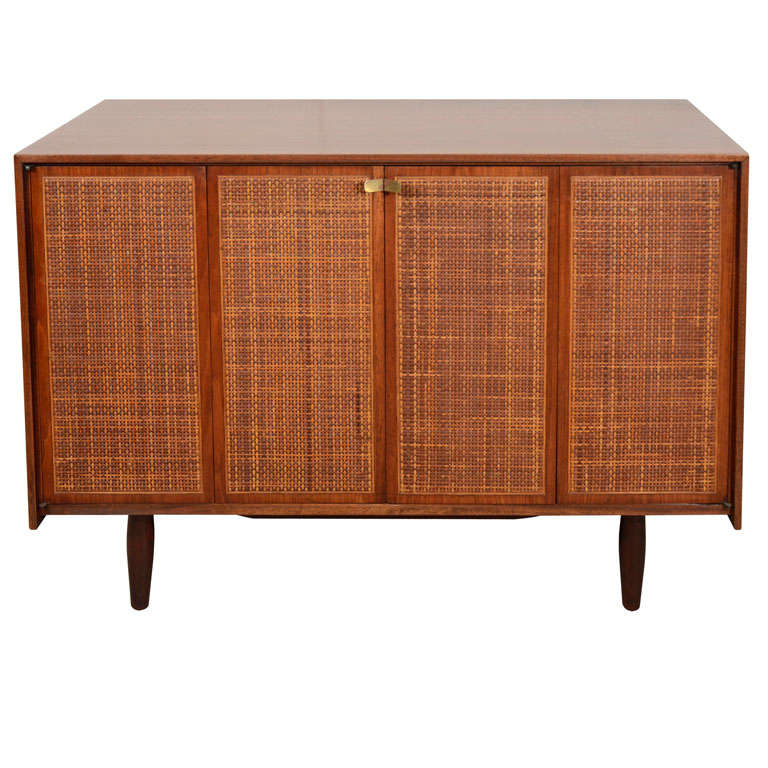 hand crafted solid walnut sideboard with caned doors at 1stdibs. Black Bedroom Furniture Sets. Home Design Ideas