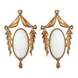 Pair Of Circa 1940 French Glass & Brass Sconces