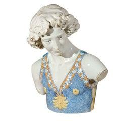 19th Century Majolica Head and Torso of a Boy