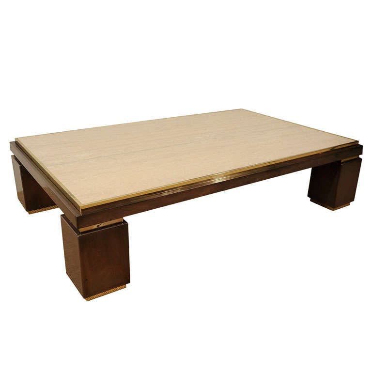 A Rectangular Low Travertine And Brass Coffee Table. At
