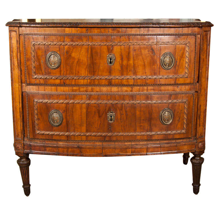 Italian walnut 2 drawer neo classic commode at 1stdibs - Commode classique ...
